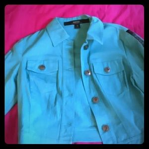 Turquoise blue mini crop jacket